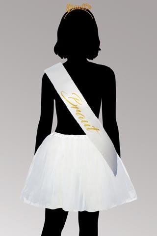 Junggesellinnenabschied Kostüm - Braut - Weiss und Gold
