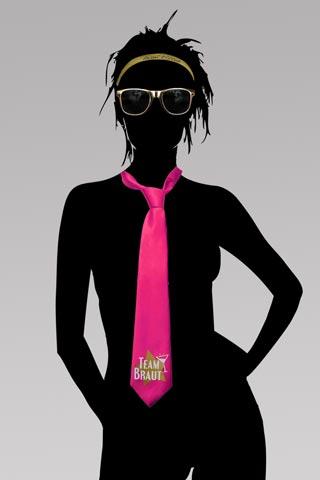 Team Braut JGA-Krawatte und Brille - Pink und Gold