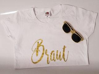 JGA Braut-Shirt und Brille im Gold-Design