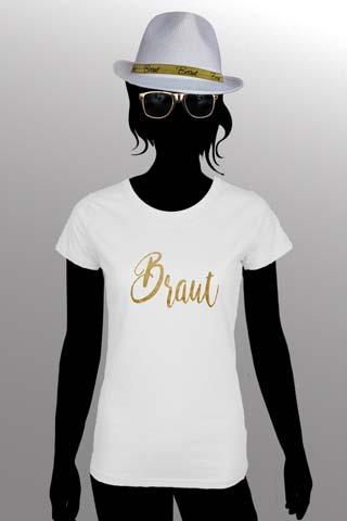 JGA Outfit für die Braut in Weiss-Gold