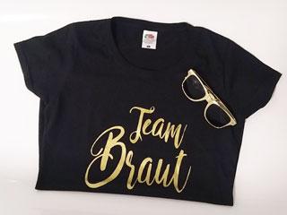 JGA Team Braut-Shirt und Brille im Gold-Design