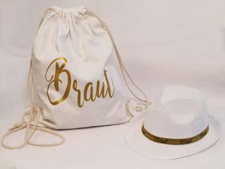 Junggesellenabschied - Braut-Rucksack und Hut in Weiss und Gold