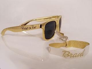 Junggesellenabschied - Braut-Armband und Brille in Gold