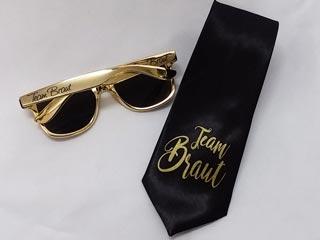 Team Braut - Krawatte und Sonnenbrille im Gold-Design
