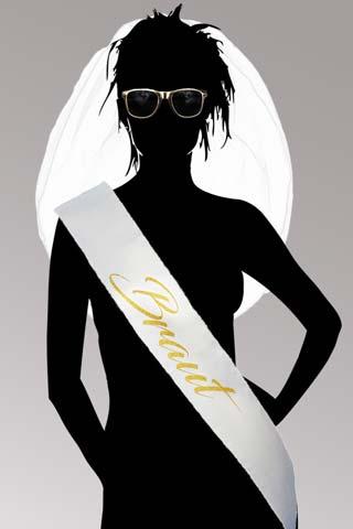 JGA Braut Verkleidung in Weiss und Gold