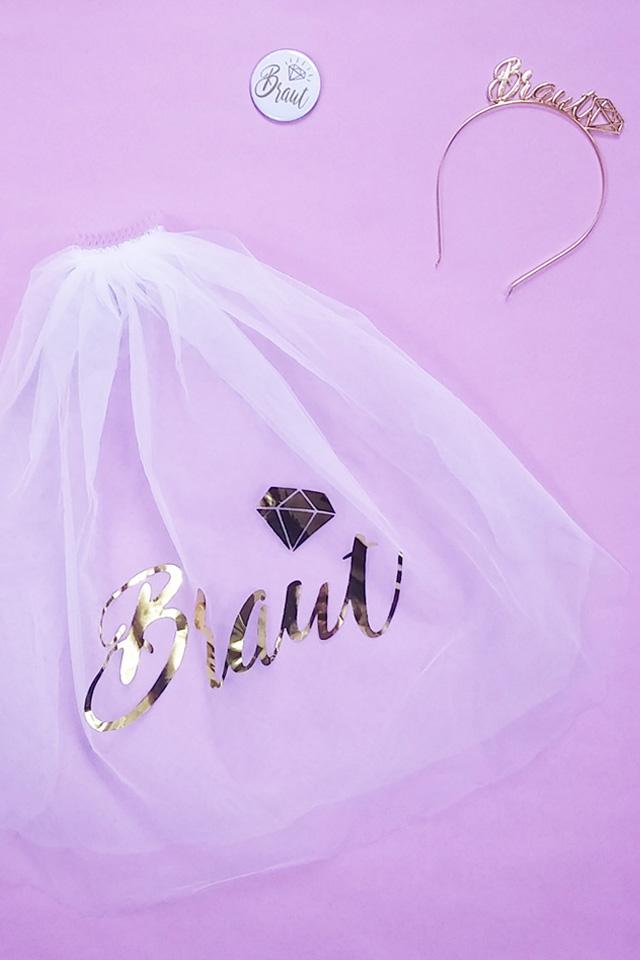 JGA Braut-Accessoires in Gold - Schleier mit Haarreif und Ansteck-Button