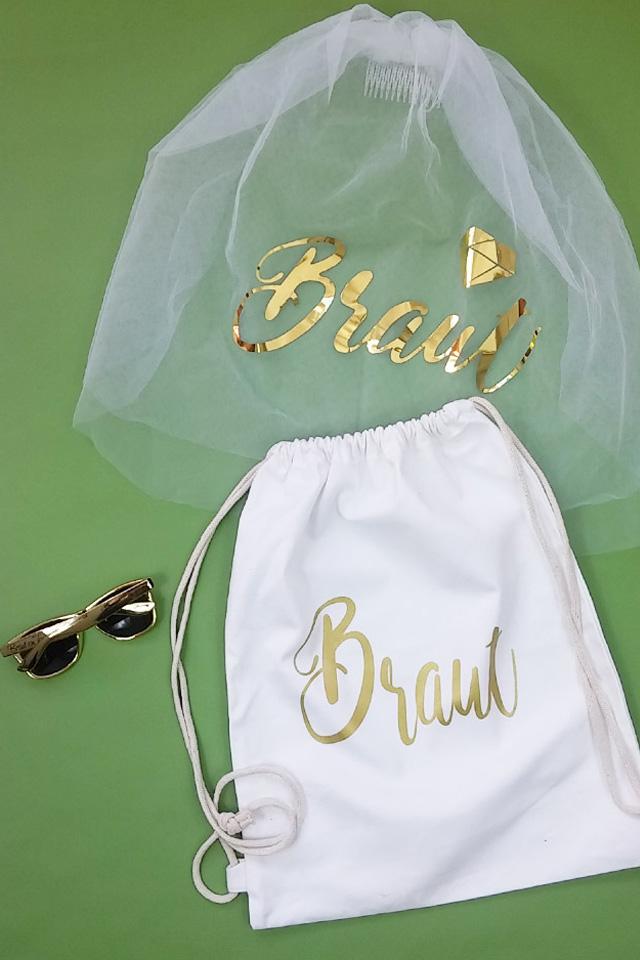 JGA Braut Accessoire-Set in Weiss-Gold - Beutel mit Schleier und Sonnenbrille