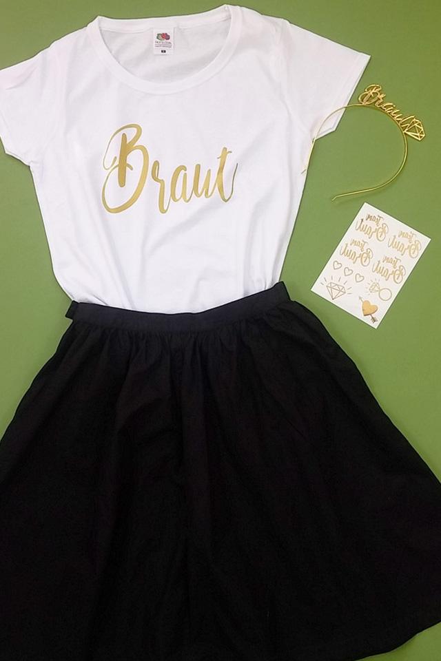 JGA Braut-Verkleidung in Weiss-Gold - Shirt mit Haarreif und Tattoos