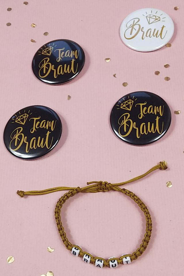 Junggesellinnenabschied-Buttons mit Gold-Motiv - Braut und Team