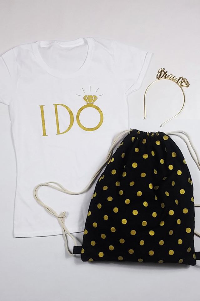 JGA Braut-Outfit I Do in Gold - Shirt mit Turnbeutel und Haarreif