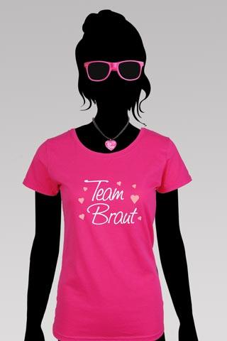 Team Braut JGA Kostüm - Pink - Shirt und Sonnenbrille
