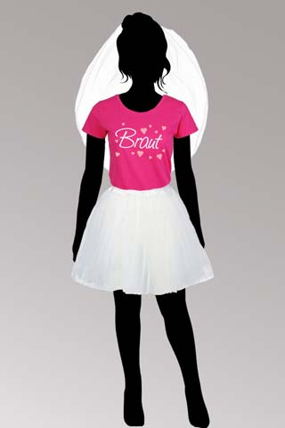 JGA Braut-Kostüm - Weiss-Pink - Shirt und Tutu-Rock