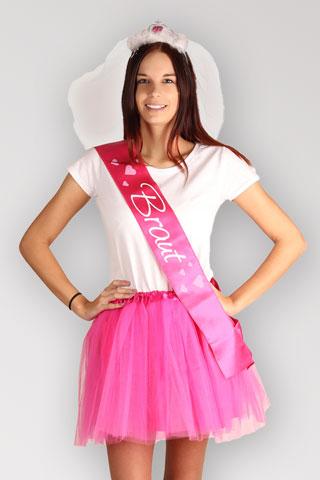 JGA Braut Outfit - Herzen - Pink