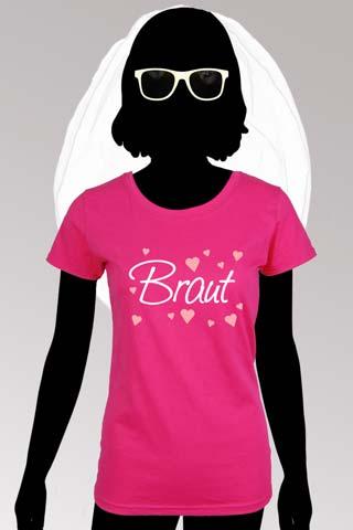 JGA Braut Outfit Set - Schleier, Brille, Shirt