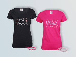 JGA T-Shirts mit Herzen - Braut und Team