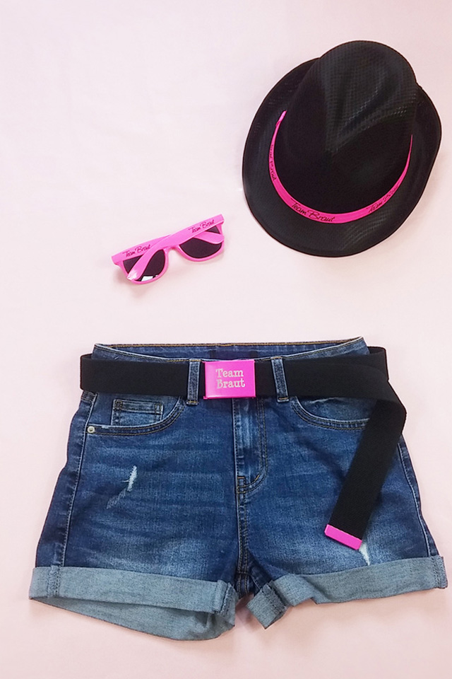 Team Braut JGA Accessoires in Pink-Schwarz - Hut mit Sonnenbrille und Gürtel