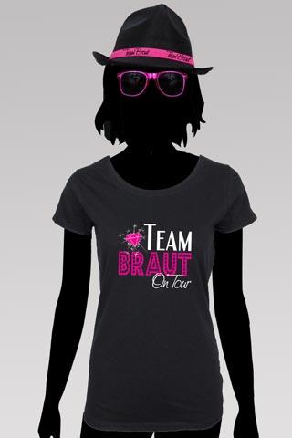 Junggesellenabschied - Team Braut Shirt und Hut in Schwarz-Pink