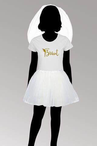Junggesellinnenabschied - weisses Braut-Kostüm im Engel-Stil