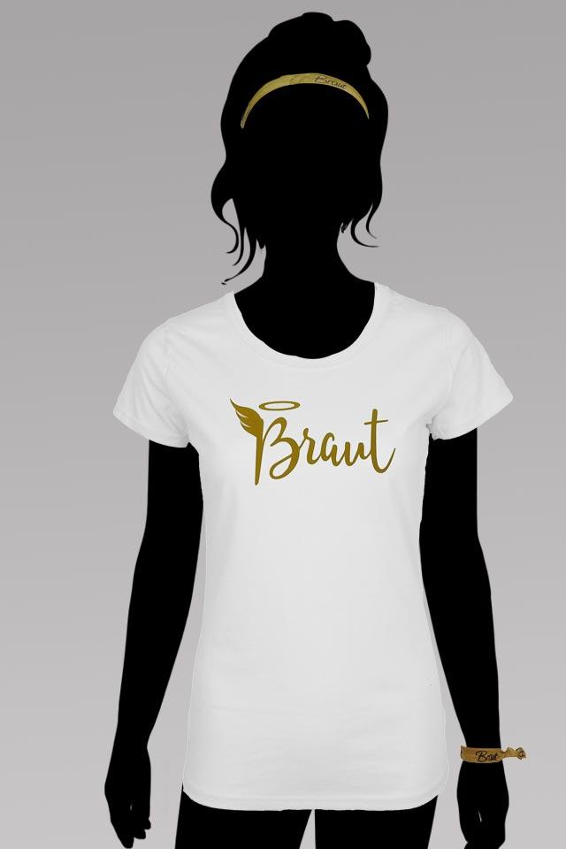 Junggesellinnenabschied - Engel-Verkleidung für die Braut - Weiss-Gold