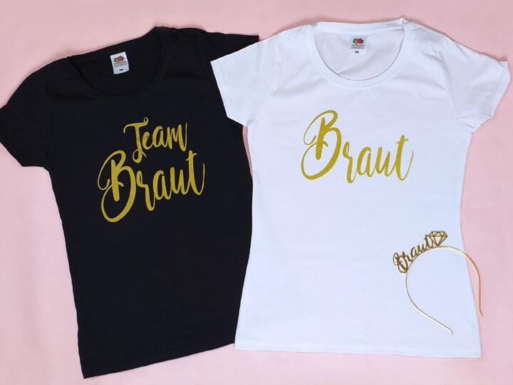 Moderne Damen Junggesellenabschied-Shirts im Gold-Design