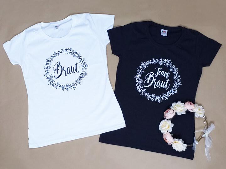 Stilvolle Damen Junggesellenabschied-Shirts mit Blumenkranz-Motiv