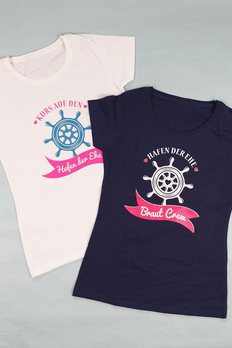 Originelle maritime Damen JGA-Shirts - Braut und Crew