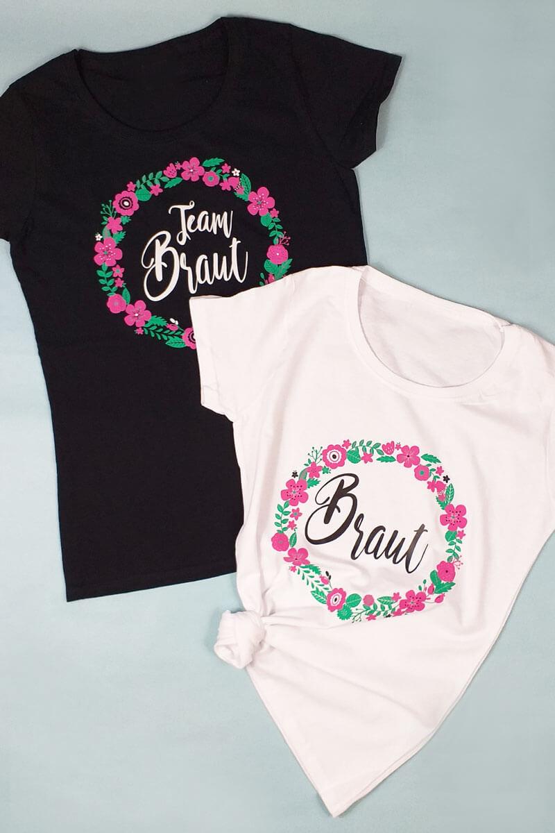 Damen JGA-Shirts mit Blumenkranz-Print