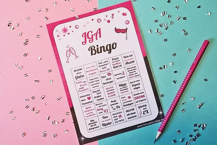 Junggesellinnenabschied Bingo Spiel für die Gruppe