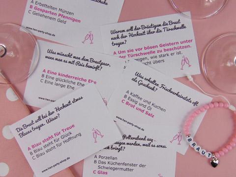 Junggesellinnen-Quiz-Spiel rund um die Hochzeit