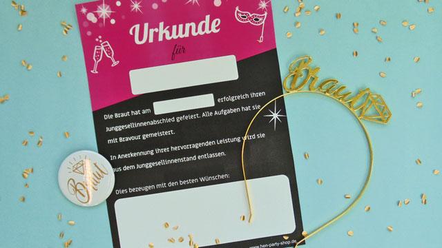 Junggesellinnenabschied - Urkunde für die Braut