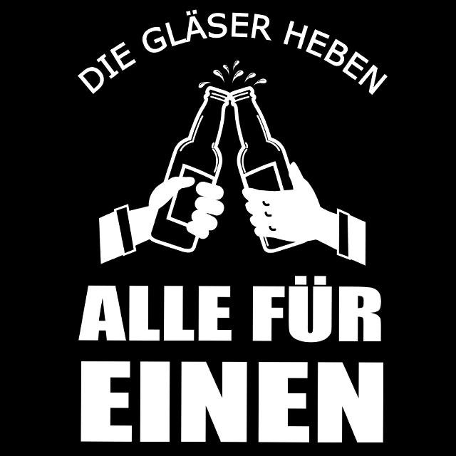JGA-Spruch: Die Gläser heben alle für einen