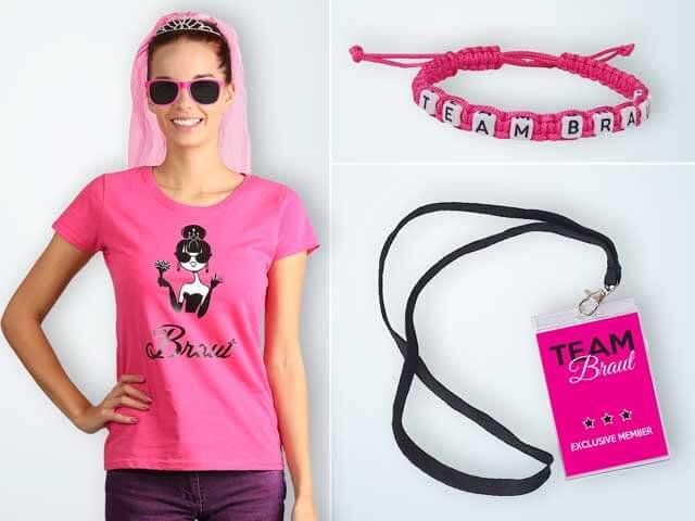 Pinkfarbene Outfits & Accessoires für den Junggesellinnenabschied