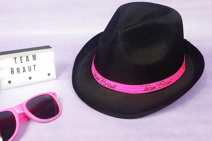 Schwarzer Team Braut Gangster-Hut für den Junggesellinnenabschied