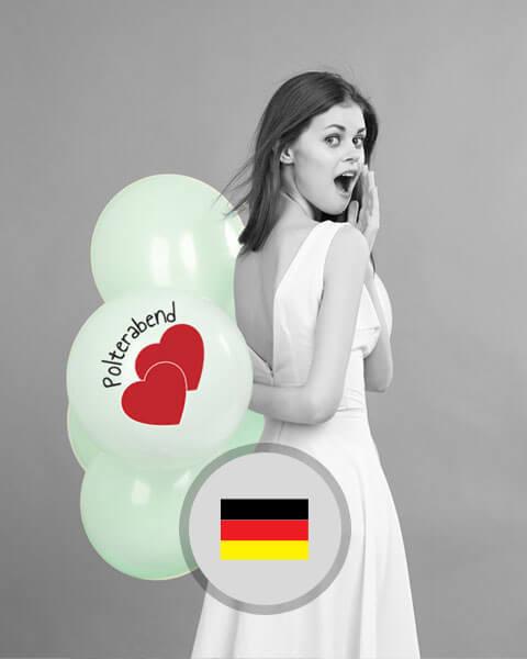 Deko und Zubehör für den deutschen Polterabend